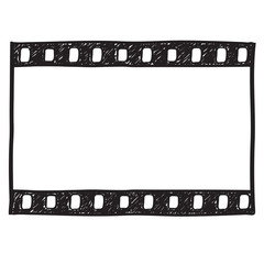 Film strip background. Empty film frame sketch style , vector.