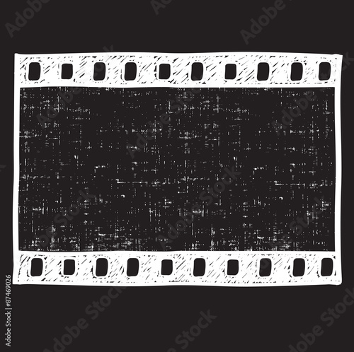 Film strip background. Empty film frame sketch style , vector ...