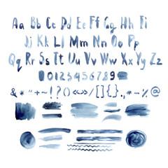Dark Blue Vector Watercolor Alphabet, Hand Drawn Font, Letters