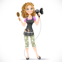 Cute girl hairdresser with hair dryer and hairbrush portrait in