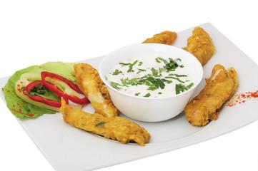 Fried chicken with yogurt salad(indian: MURGH PAKORA)