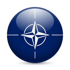 Round glossy icon of NATO