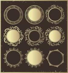 Set of golden vintage round frames