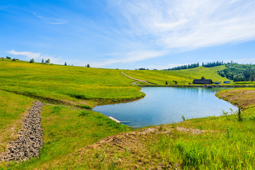 Canvas Prints Hill Green meadow with flowers and beautiful lake in summer landscape of Tatra Mountains, Slovakia