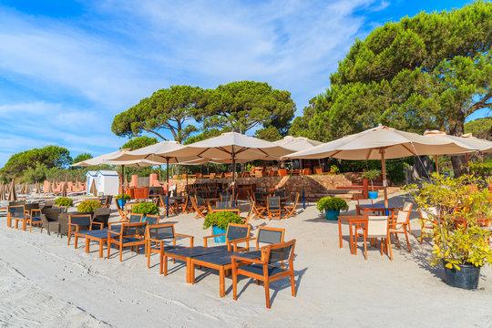 Beach bar on sandy Palombaggia beach, Corsica island, France