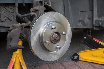 New Car Brake Disk  brake caliper removed