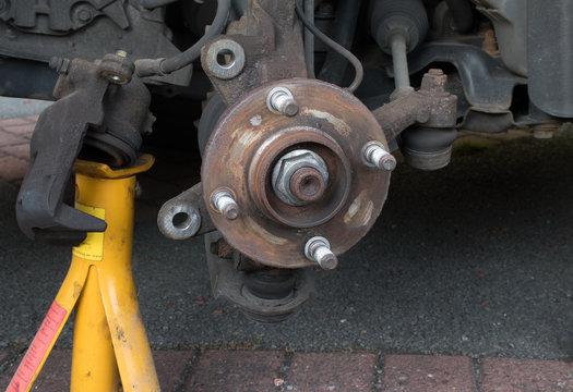 Wheel hub - brake disk and caliper removed