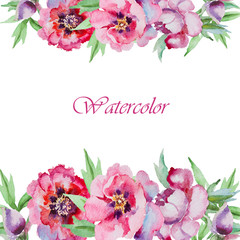 Watercolor flowers peony.Handmade greeting cards.