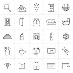 Accommodation booking icon set