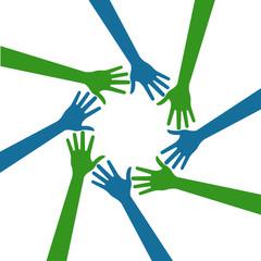 People hands logo circle