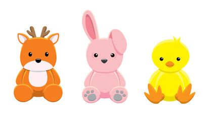 Doll Deer Rabbit Chick Vector Illustration