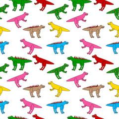 Dinosaurs seamless pattern on white background - vector illustration.