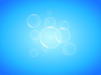 Transparent soap bubbles on blue background photo realistic vector