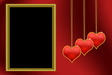 Picture Frame Red Heart Background
