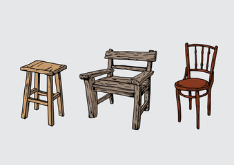 old wood chair 3 style