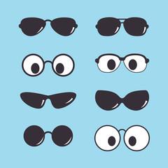 set of vintage sunglasses icon