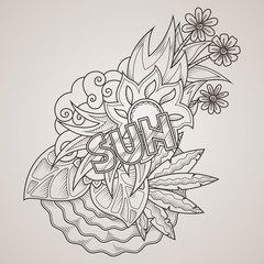 Vector label with sea, sun, leaves and flowers. Sunny, summer character. Print.