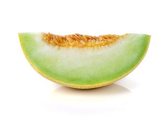 cantaloupe melon slices on white background.