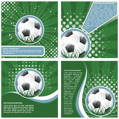 Set of soccer vector background in retro style, vector illustration