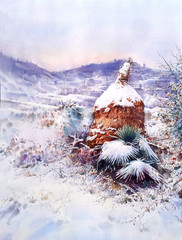 watercolor snow landscape
