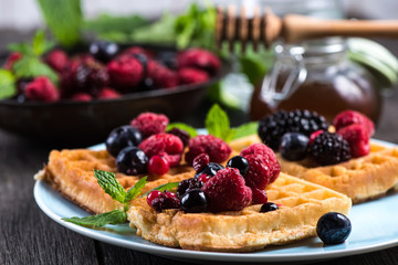 summer breakfast, belgian waffles with fresh fruits