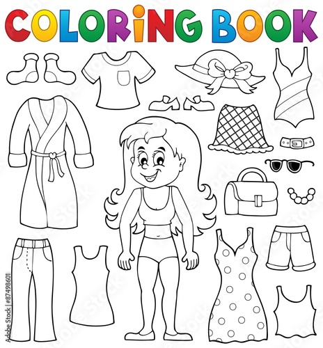 Coloring Book Girl With Clothes Theme 1 Stock Image And Royalty