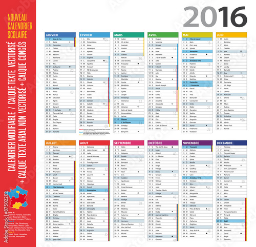 Calendrier 2016 cong s lunes n semaine modifiable - Calendrier des lunes 2016 ...