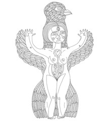 Vector black and white illustration of weird creature, nude