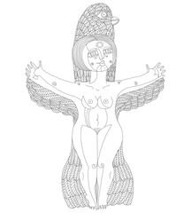 Vector monochrome illustration of bizarre creature, nude woman