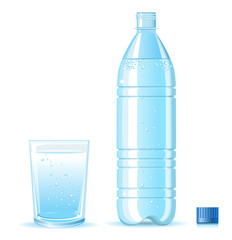 Bottle of clean water and glass with splashing isolated on white