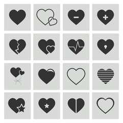 Vektor Herzen Schwarz Icon Set, Vector heart black