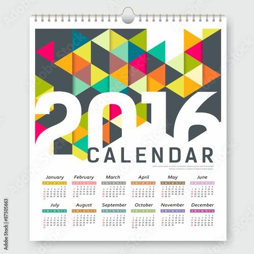 Calendar 2016 Colorful Triangle Geometric Template Design