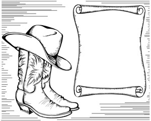 western background with cowboy boots and scroll for text.Graphic