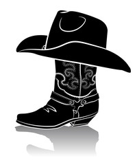 Cowboy boot and western hat.Black graphic image on white