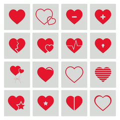 Vektor Herzen Rot Icon Set, Vector heart red