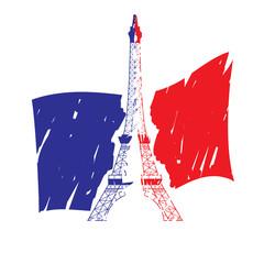 Eiffel Tower isolated on the France Flag. Vector ilustration