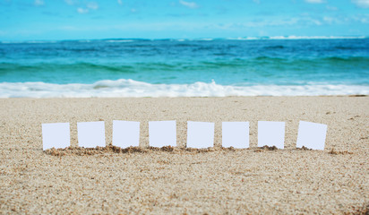 Message with a place for your text on the beach