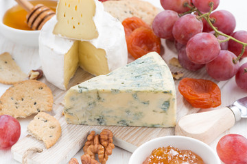 molded cheeses, fresh fruit and snacks, closeup