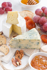 molded cheeses, fresh fruit and snacks, vertical