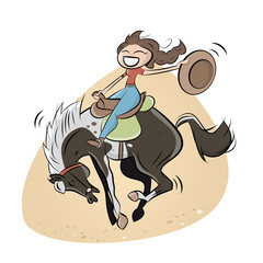 rodeo pferd frau mädchen lustig