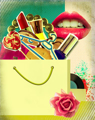 Shopping bag on retro poster.Pop art background illustration