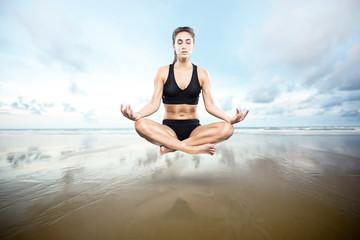 Floating Woman meditating