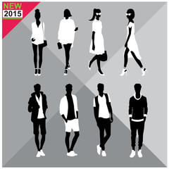 Editable silhouettes set of men and women