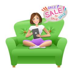Pretty woman shopping online. Vector illustration