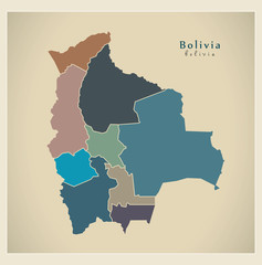 Modern Map - Bolivia with departments colored BO