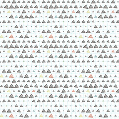 Vector seamless pattern of triangles primed on checkered paper