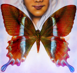 illustration of a color butterfly and woman face,  mixed medium