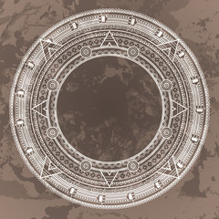 Vector circular pattern in the style of the Aztec calendar stone