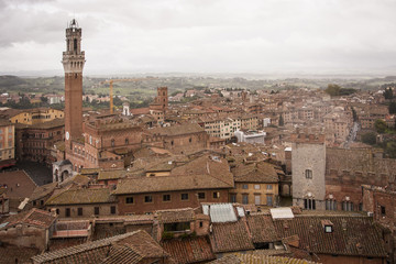 High angle view across the city of Siena with the Piazza del Campo and Torre del Mangia landmarks.