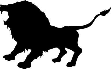 Lion Roaring silhouette